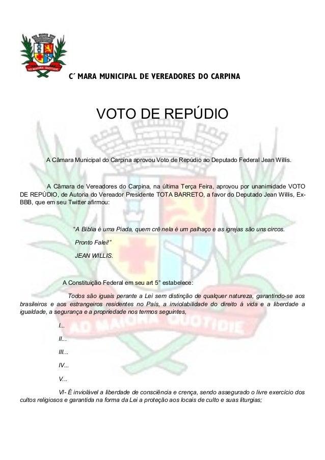 CÂMARA MUNICIPAL DE VEREADORES DO CARPINAVOTO DE REPÚDIOA Câmara Municipal do Carpina aprovou Voto de Repúdio ao Deputado ...