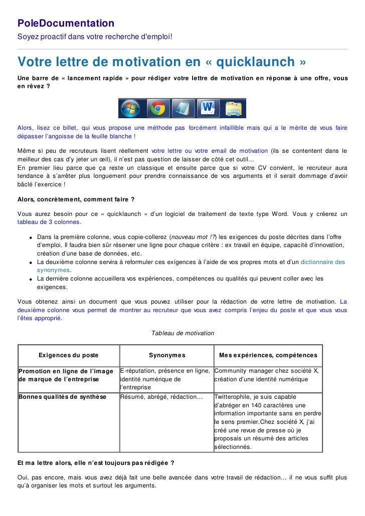 PoleDocumentationSoyez proactif dans votre recherche demploi!Votre lettre de motivation en « quicklaunch »Une barre de « l...