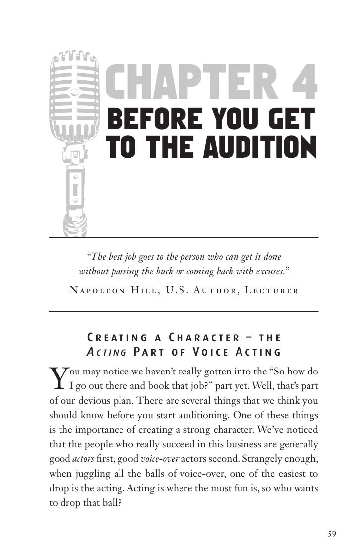 "chapter 4               before You get               to the audition           ""The best job goes to the person who can ge..."