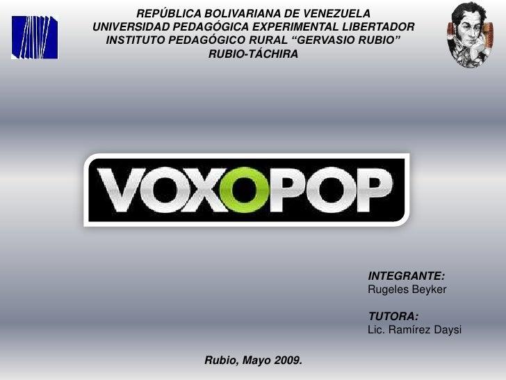 """REPÚBLICA BOLIVARIANA DE VENEZUELA<br />UNIVERSIDAD PEDAGÓGICA EXPERIMENTAL LIBERTADOR<br />INSTITUTO PEDAGÓGICO RURAL """"GE..."""