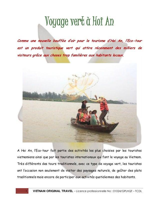 1 VIETNAM ORIGINAL TRAVEL – Licence professionnelle No : 01024/GPLHQT – TCDL Voyage vert à Hoi An Comme une nouvelle bouff...