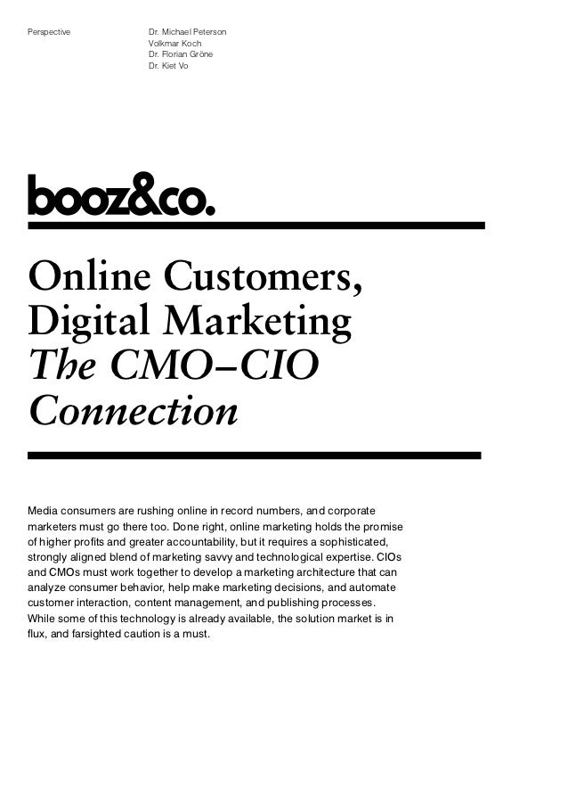 Online Customers, Digital Marketing: The CMO-CIO Connection
