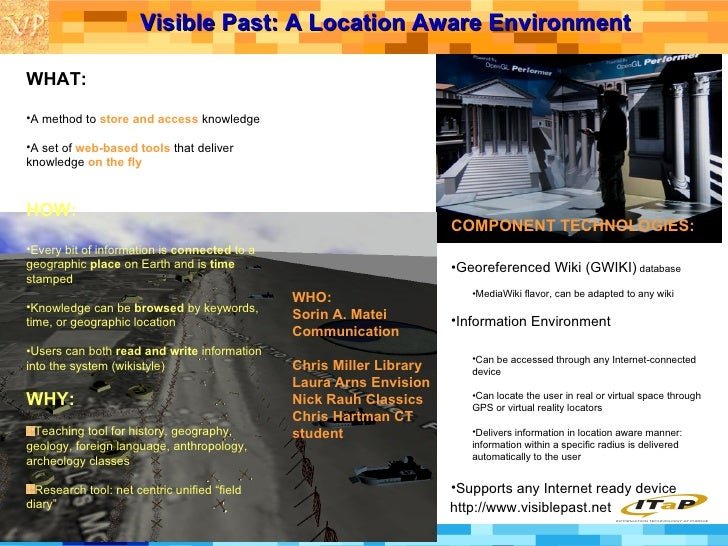 Visible Past: A Location Aware Environment   http://www.visiblepast.net <ul><li>WHAT: </li></ul><ul><li>A method to  store...
