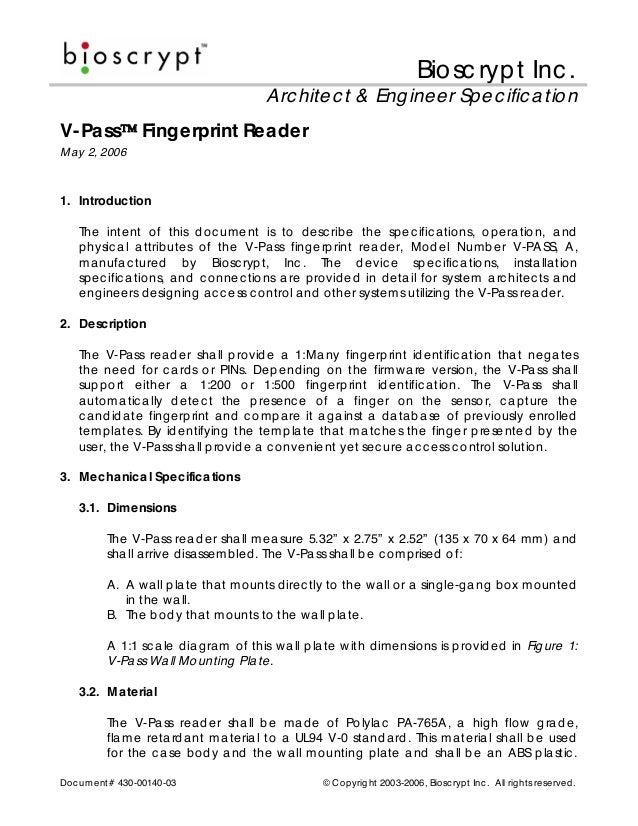 Biosc ryp t Inc .                                        Arc hitec t & Eng ineer Sp ec ific a tionV-Pa ss          Fingerp...