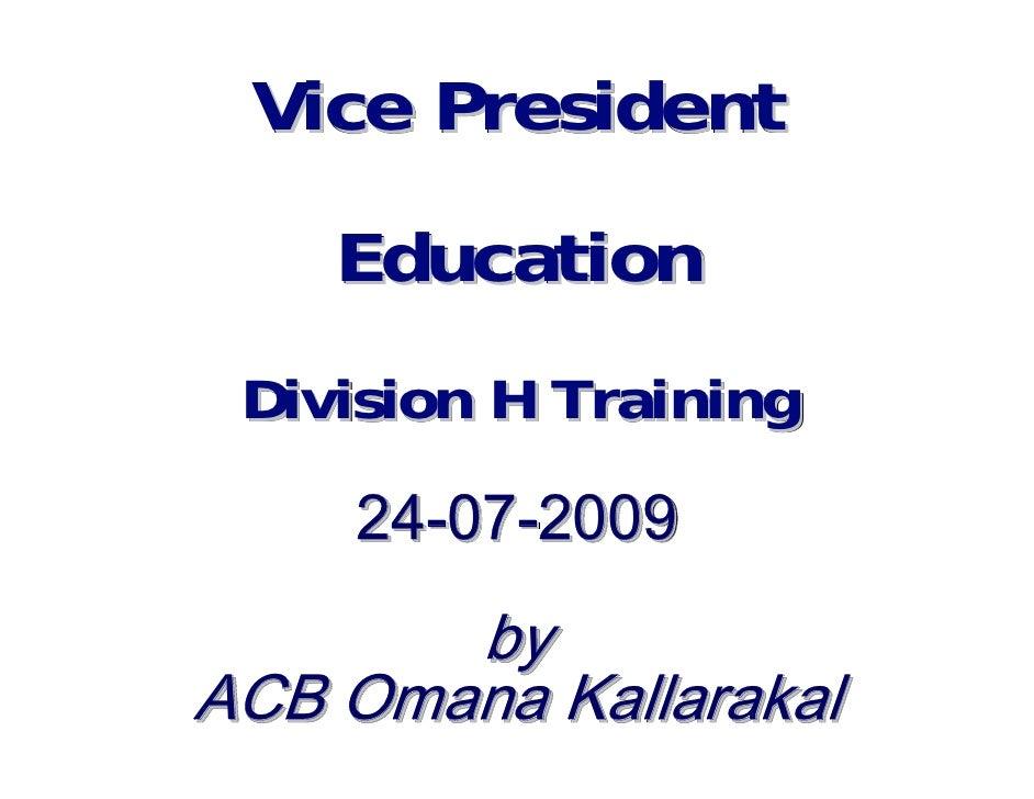 Vice President Education Division H Training 25-06-2010 by  ALS ACS Omana Kallarakal