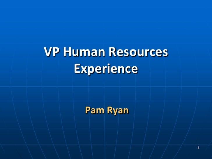 Vp Hr Experience Power Point Presentation