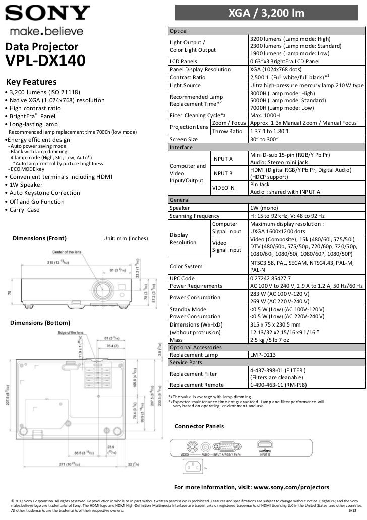 Sony VPL-DX140 Projector Spec Sheet