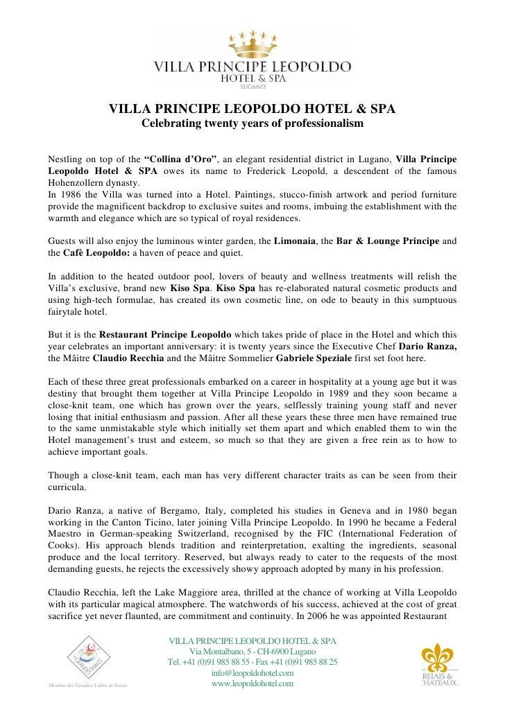 VILLA PRINCIPE LEOPOLDO HOTEL & SPA                                       Celebrating twenty years of professionalism  Nes...