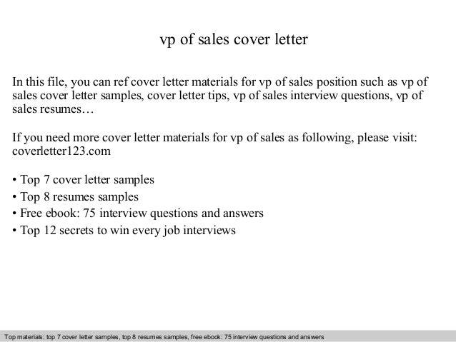 Vp sales cover letter
