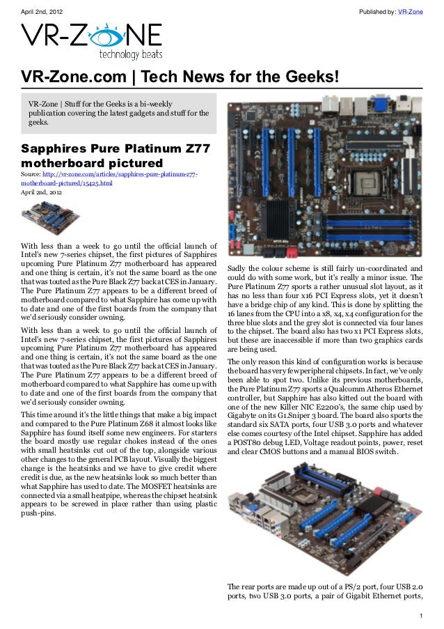 VR-Zone Tech News for the Geeks 2012 Issue 1