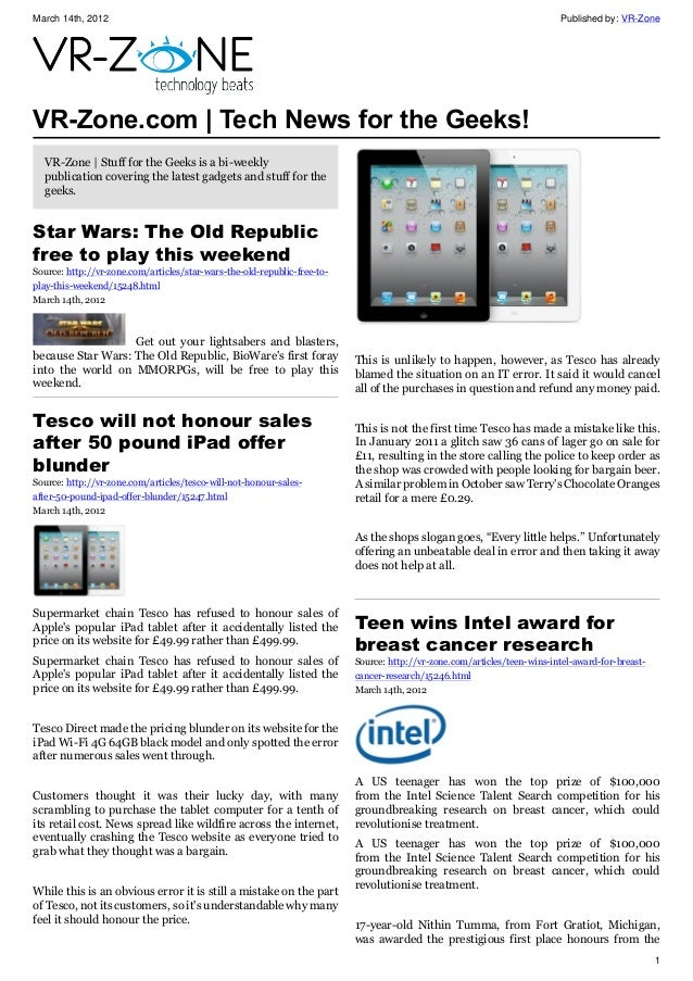 VR-Zone Tech News for the Geeks 2012 Issue 3