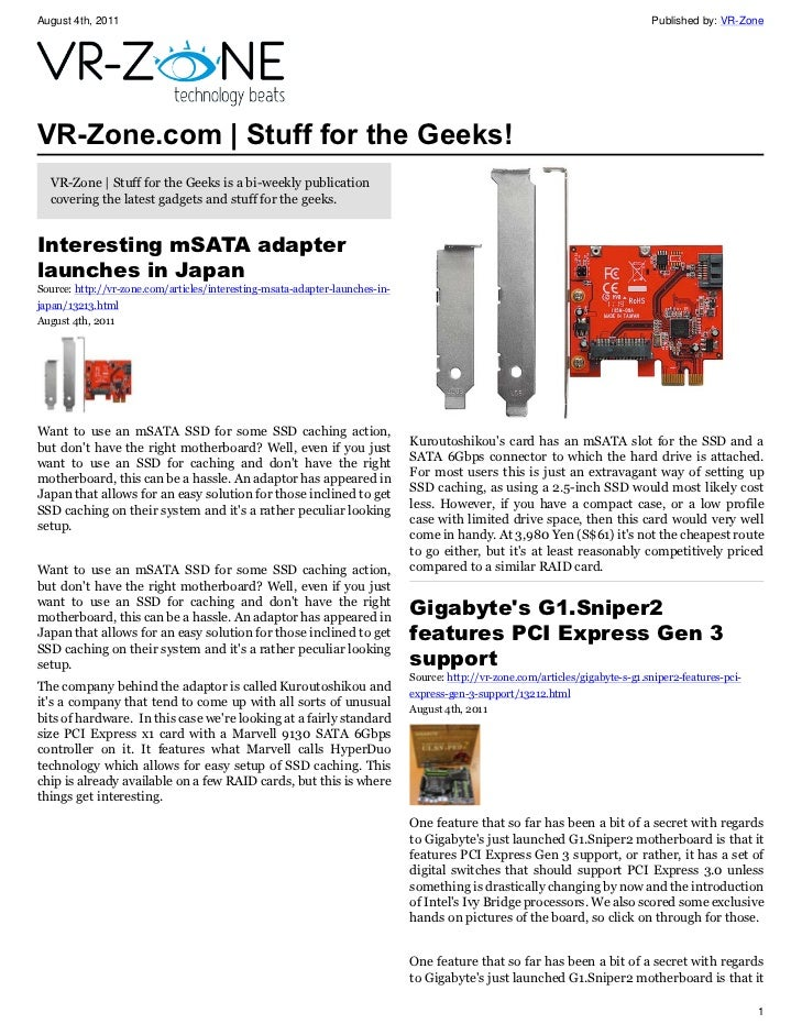 VR-Zone Tech News for the Geeks Aug 2011 Issue