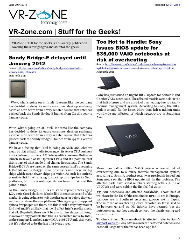 VR-Zone Tech News for the Geeks Jul 2011 Issue