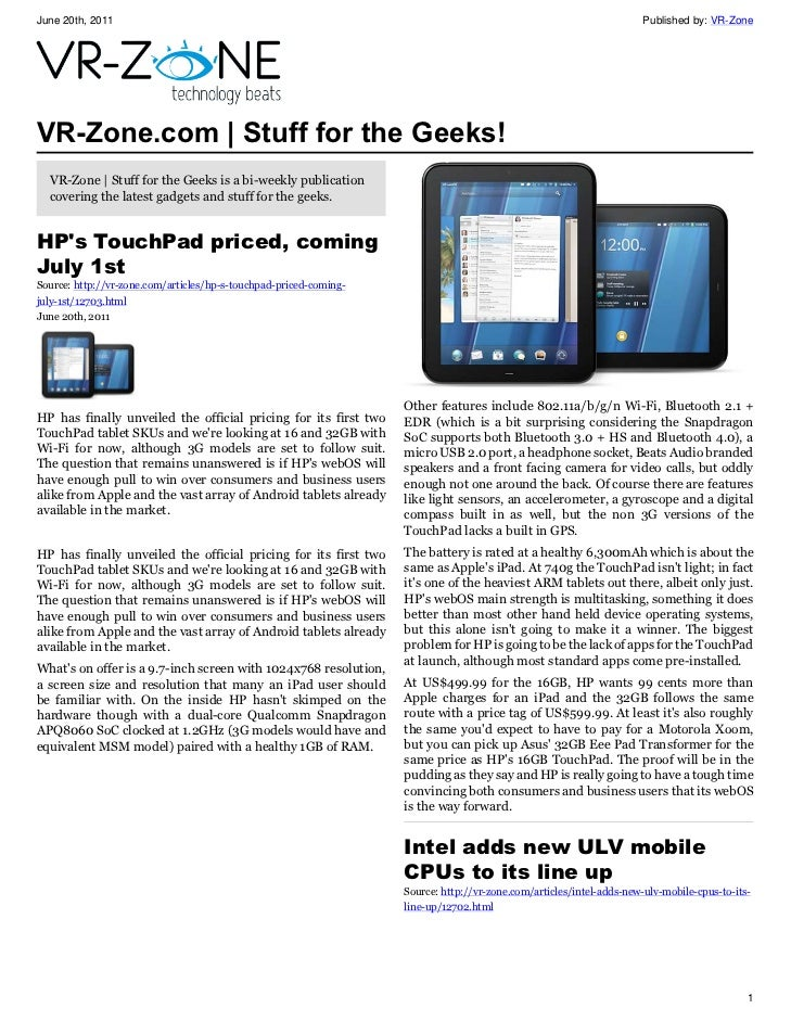 VR-Zone Tech News for the Geeks Jun 2011 Issue