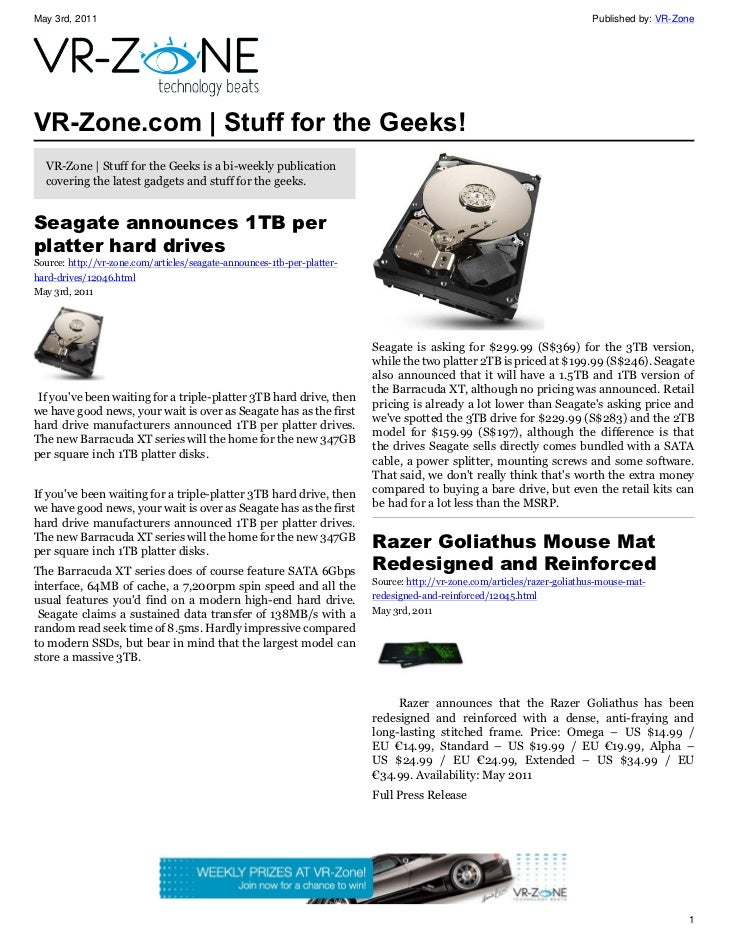VR-Zone Tech News for the Geeks May 2011 Issue