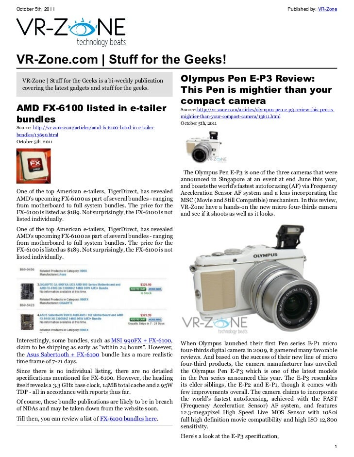 VR-Zone Tech News for the Geeks Oct 2011 Issue