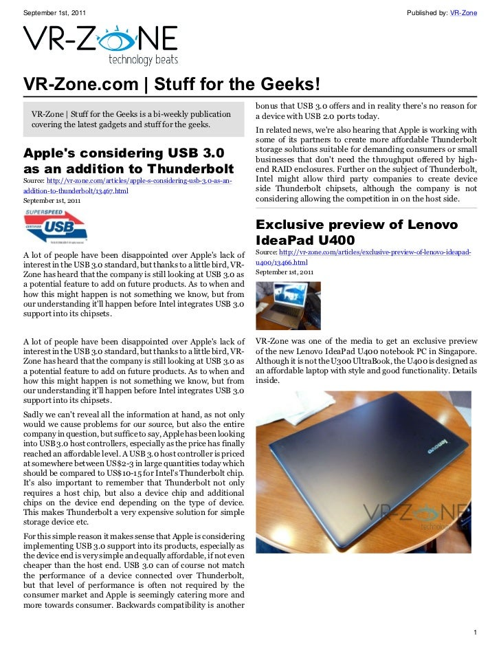 VR-Zone Tech News for the Geeks Sep 2011 Issue
