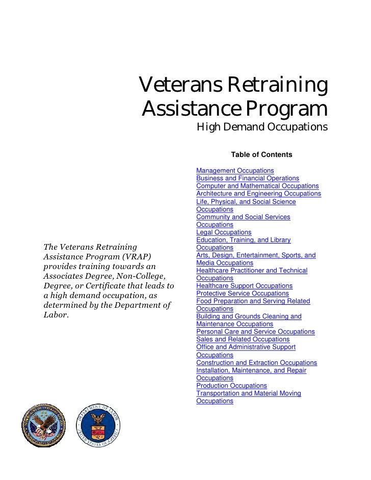 Veterans Retraining                          Assistance Program                                                           ...