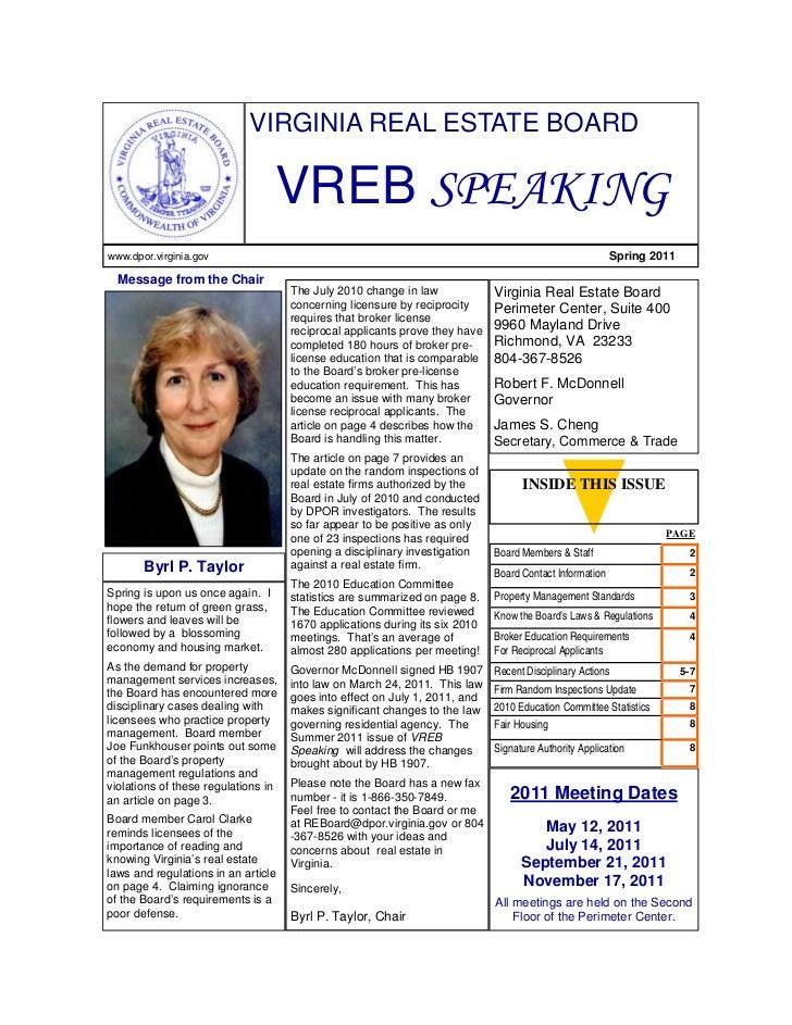 VREB Real Estate Newsletter Spring 2011