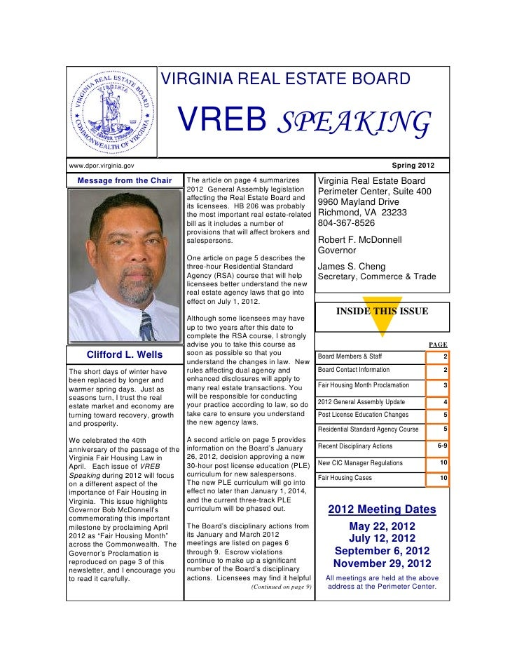 Virginia Real Estate Board Newsletter Spring 2012