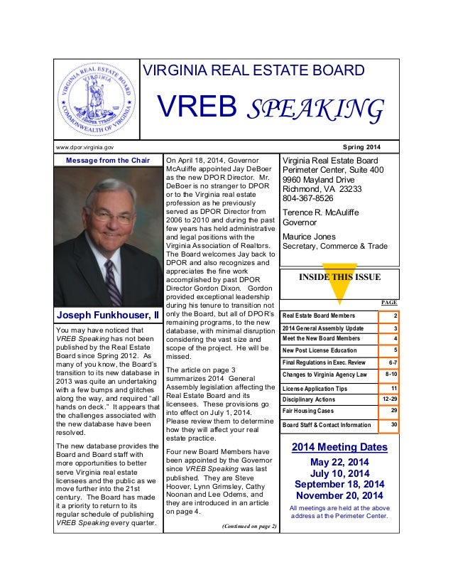 You may have noticed that VREB Speaking has not been published by the Real Estate Board since Spring 2012. As many of you ...