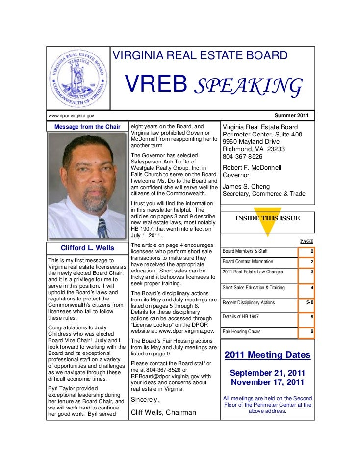 VIRGINIA REAL ESTATE BOARD                               VREB SPEAKINGwww.dpor.virginia.gov                               ...