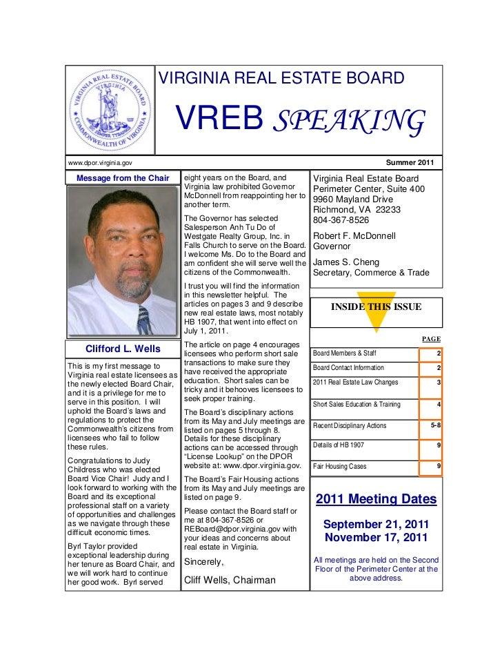 Virginia Real Estate Board Summer 2011 Newsletter