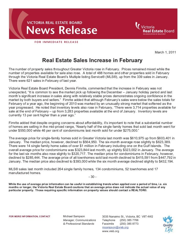March 1, 2011                          Real Estate Sales Increase in FebruaryThe number of property sales throughout Great...