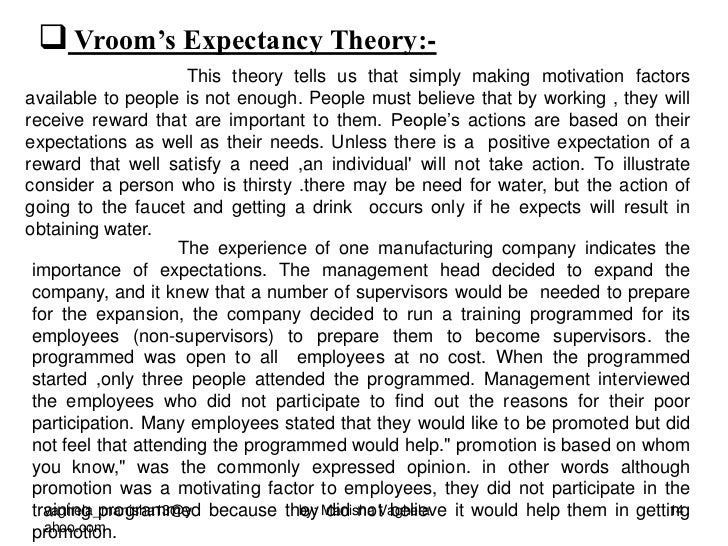 essays on victor vroom Employee motivation assignment help on vroom's expectancy theory provided  by  it was first proposed by victor vroom of the yale school of management.