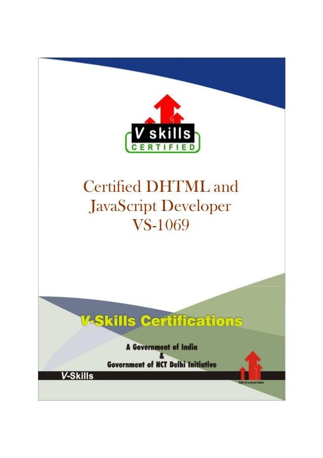 Certified DHTML and JavaScript Developer VS-1069
