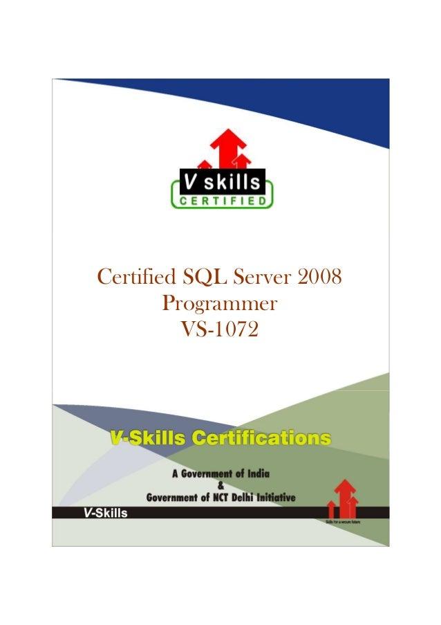 Certified SQL Server 2008 Programmer VS-1072