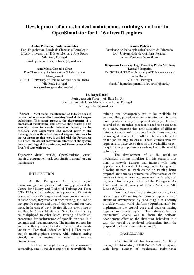 Development of a mechanical maintenance training simulator in                OpenSimulator for F-16 aircraft engines      ...