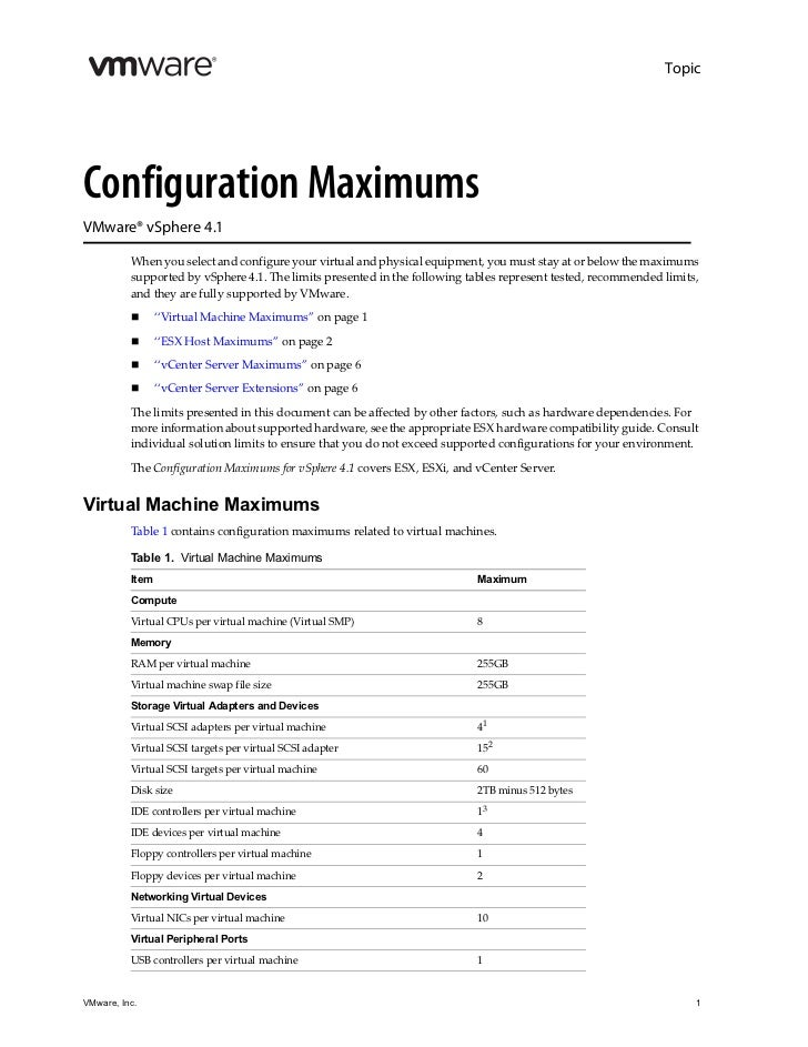 TopicConfiguration MaximumsVMware® vSphere 4.1          When you select and configure your virtual and physical equipment,...