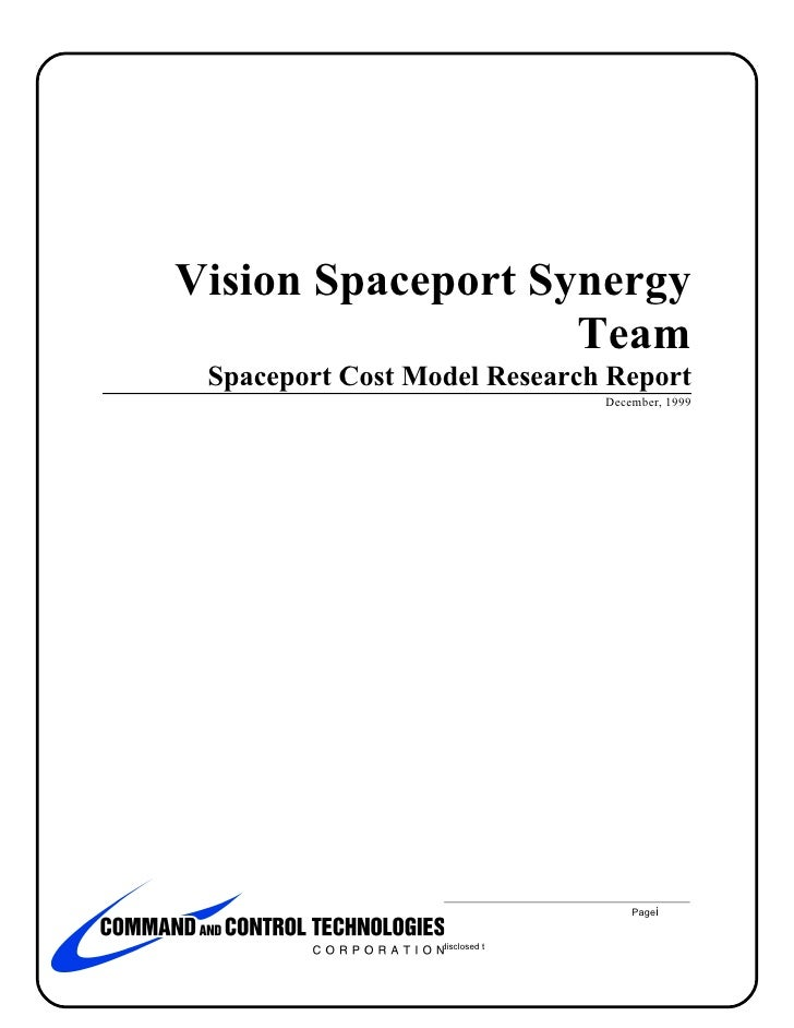 Vision Spaceport Synergy                                  Team                      Spaceport Cost Model Research Report  ...