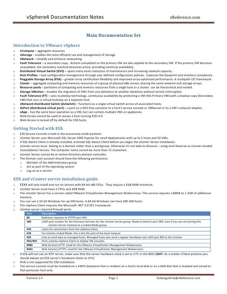 vSphere4 Documentation Notes                                                                                           vRe...