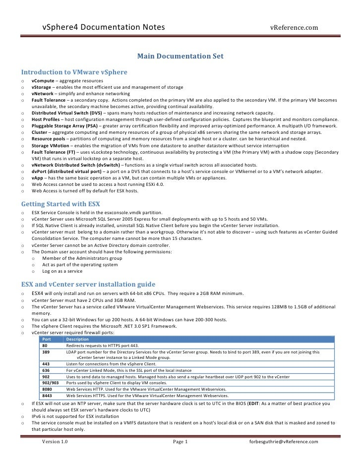 VMWare VSphere4 Documentation Notes