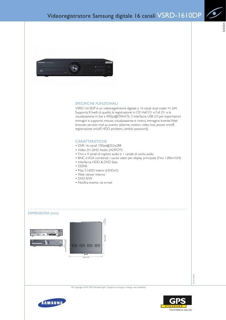 Videoregistratore Samsung digitale 16 canali VSRD-1610DP                                                                  ...