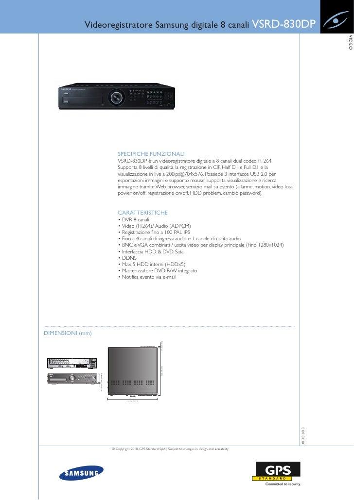 Videoregistratore Samsung digitale 8 canali VSRD-830DP                                                                    ...
