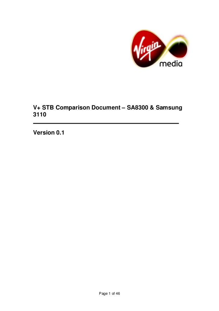 V+ STB Comparison Document – SA8300 & Samsung 3110   Version 0.1                        Page 1 of 46