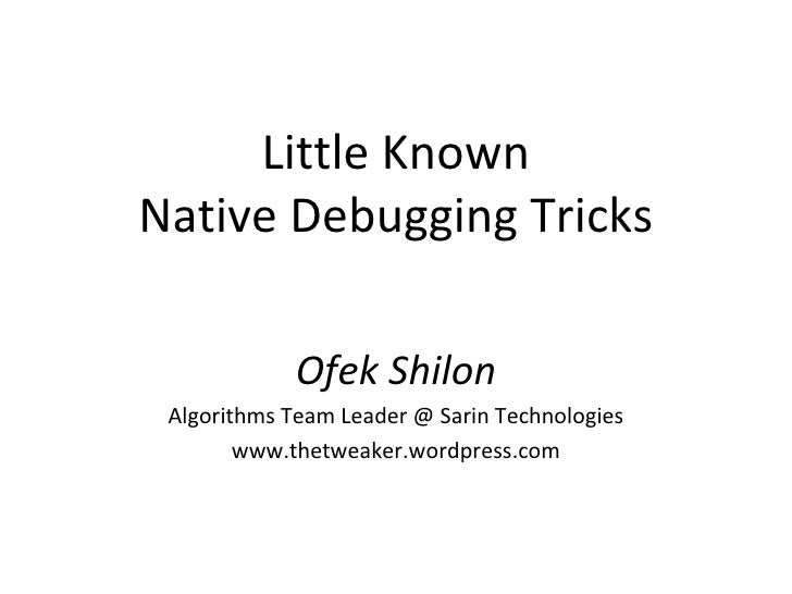 Little Known VC++ Debugging Tricks