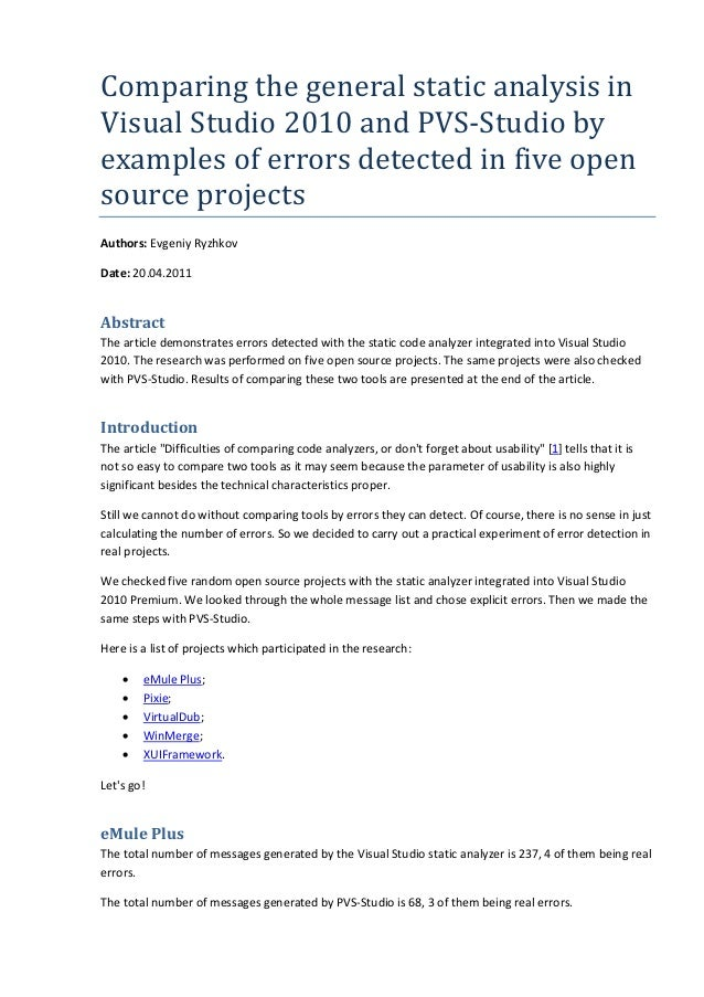 Comparing the general static analysis in Visual Studio 2010 and PVS-Studio by examples of errors detected in five open source projects