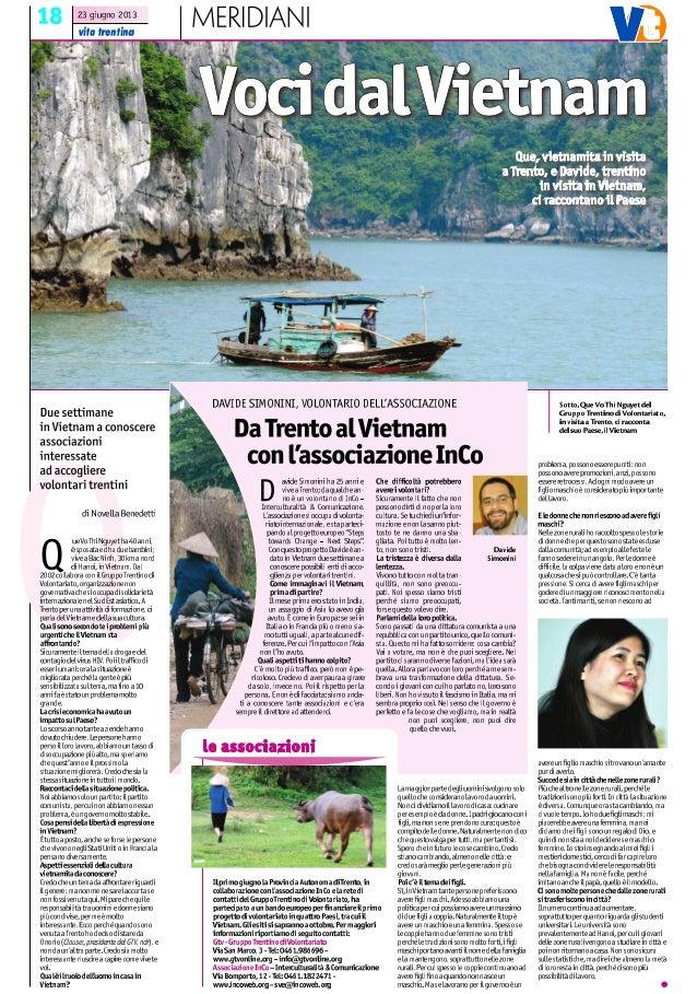 """Articolo Vita Trentina 23 giugno 2013 - Rubrica """"Meridiani"""""""