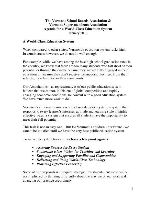 The Vermont School Boards Association & Vermont Superintendents Association Agenda for a World-Class Education System Janu...