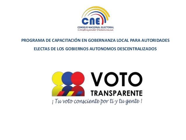 Voto Transparente información para talleres #GobernanzaGAD