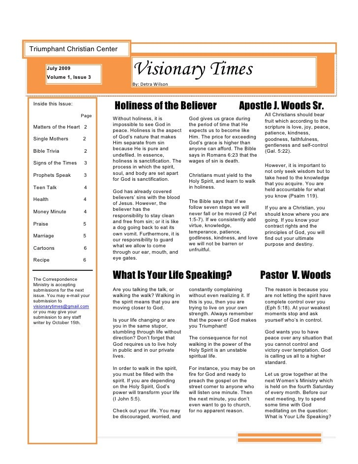Triumphant Christian Center         July 2009        Volume 1, Issue 3                                        Visionary Ti...