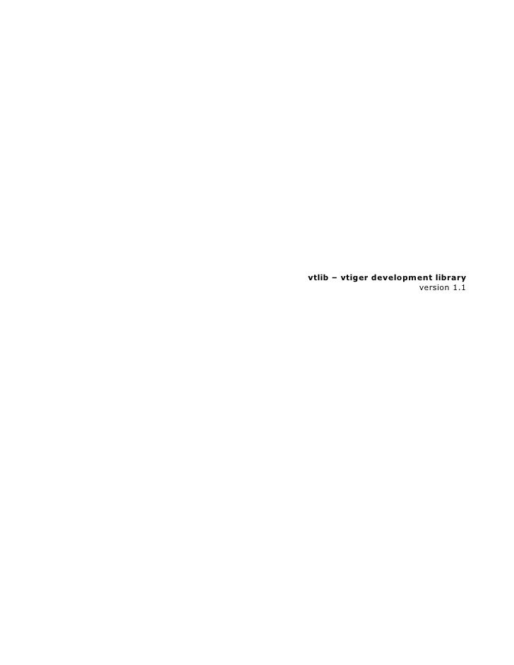 vtlib – vtiger development library                        version 1.1