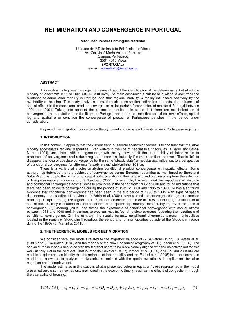 NET MIGRATION AND CONVERGENCE IN PORTUGAL                                       Vitor João Pereira Domingues Martinho     ...