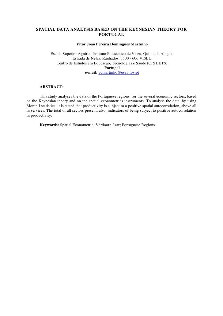 SPATIAL DATA ANALYSIS BASED ON THE KEYNESIAN THEORY FOR                             PORTUGAL                              ...