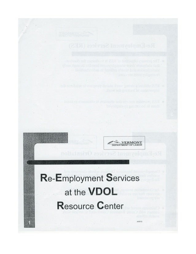Vermont Dept of Labor Rapid Re-Employment Presentation (Really ? )
