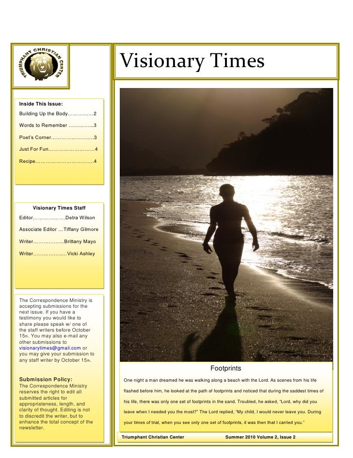 ©                                      Visionary Times Inside This Issue: Building Up the Body……………2  Words to Remember ……...